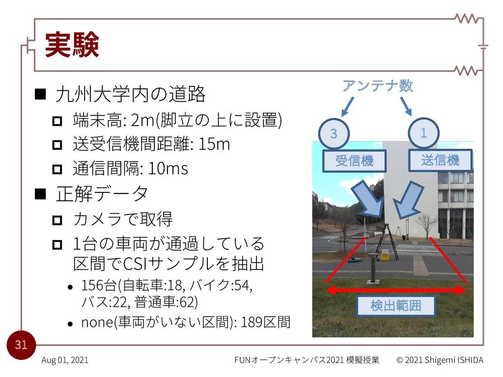 実験 n 九州⼤学内の道路 p 端末⾼: 2m(脚⽴の上に設置) p 送受信機間距離: 15m...