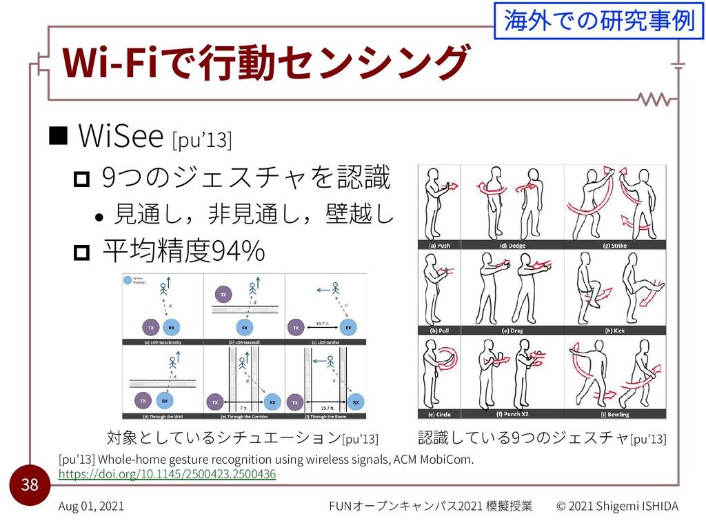Wi-Fiで⾏動センシング n WiSee [pu'13] p 9つのジェスチャを認識 l ⾒...