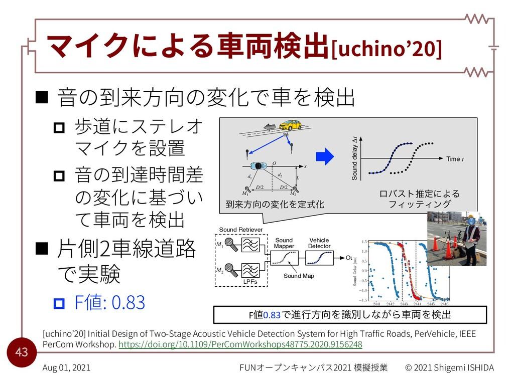 マイクによる⾞両検出[uchino'20] n ⾳の到来⽅向の変化で⾞を検出 p 歩道にステレ...