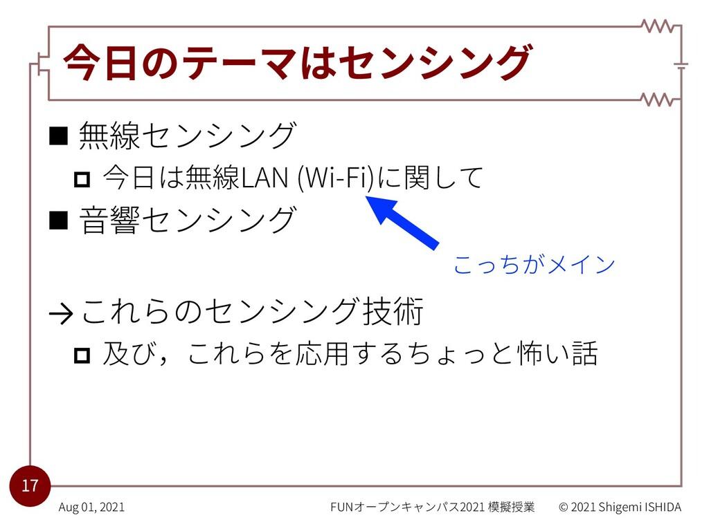 今⽇のテーマはセンシング n 無線センシング p 今⽇は無線LAN (Wi-Fi)に関して n...
