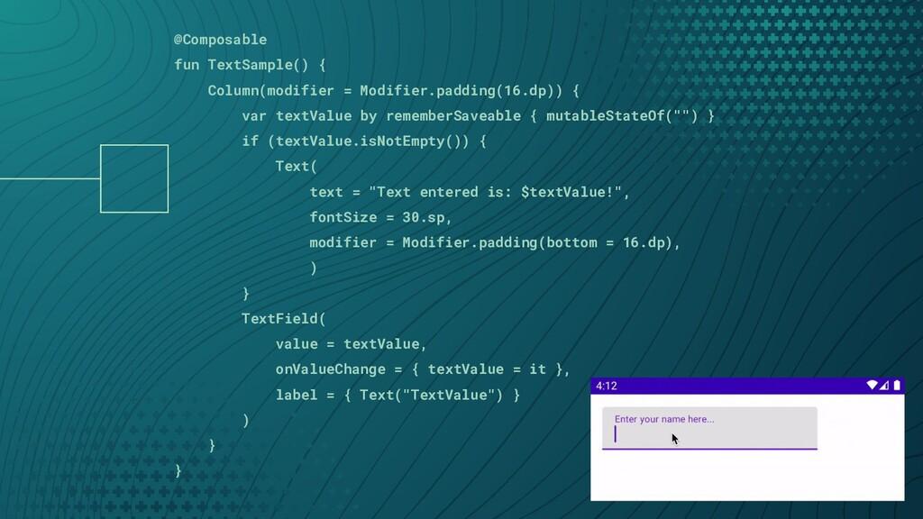 @Composable fun TextSample() { Column(modifier ...