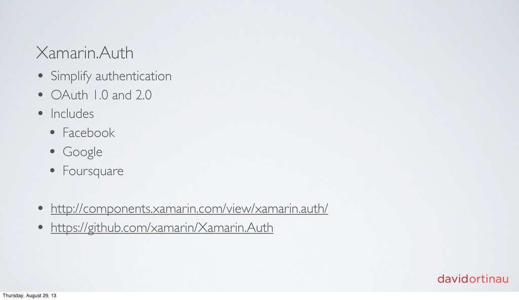 Xamarin.Auth • Simplify authentication • OAuth ...