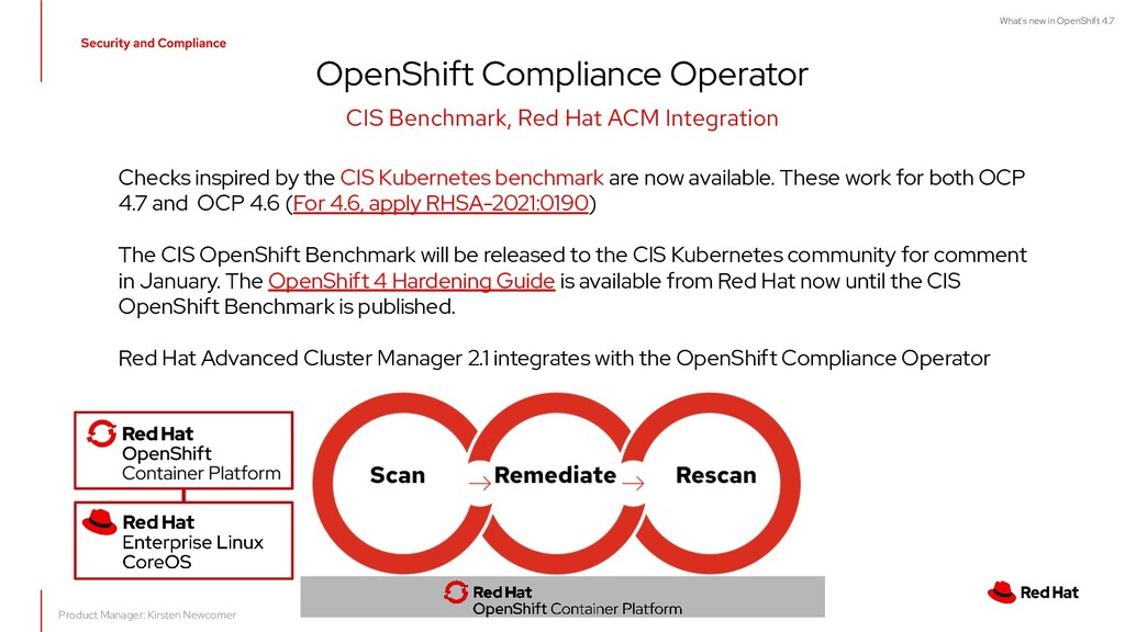 OpenShift Compliance Operator CIS Benchmark, Re...