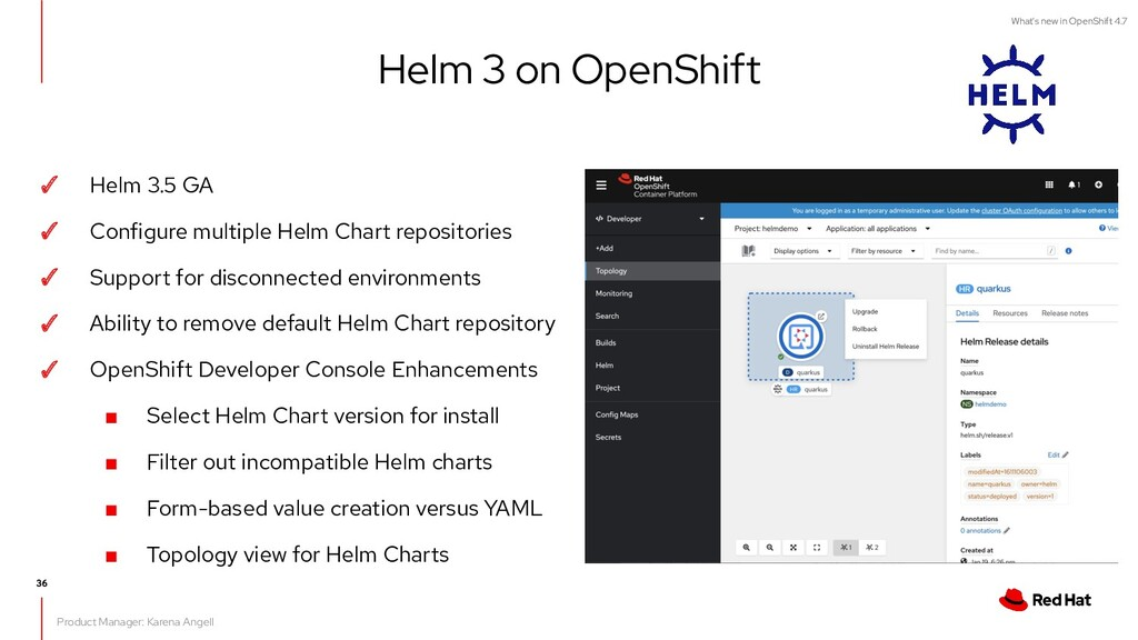 What's new in OpenShift 4.7 ✓ Helm 3.5 GA ✓ Con...