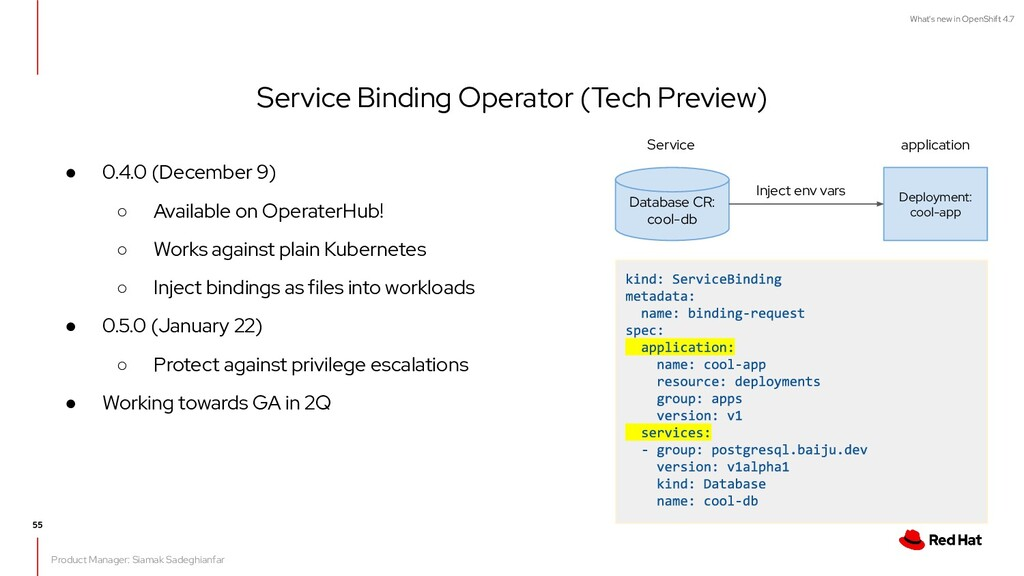 What's new in OpenShift 4.7 Service Binding Ope...