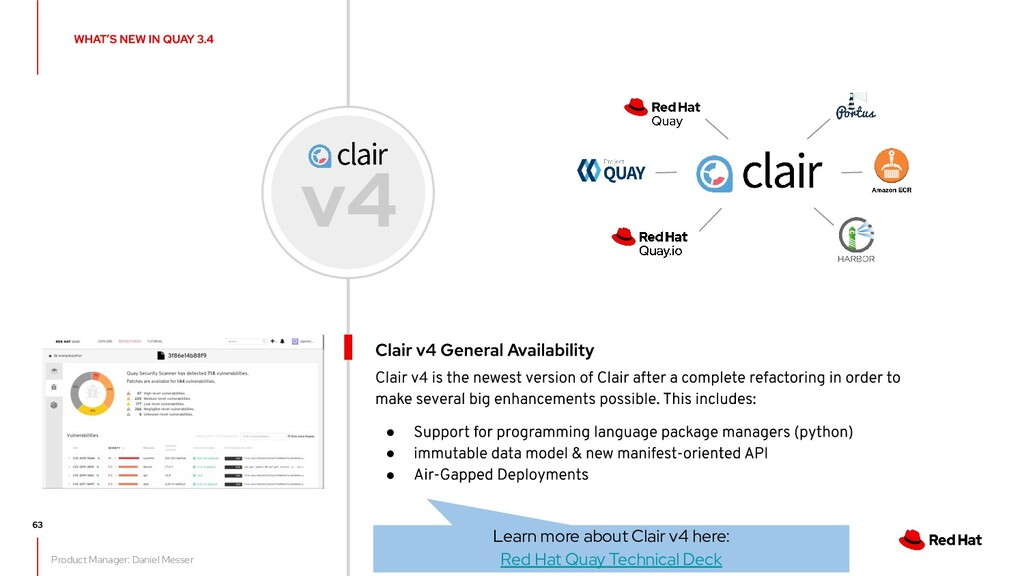 ● ● ● v4 Learn more about Clair v4 here: Red Ha...