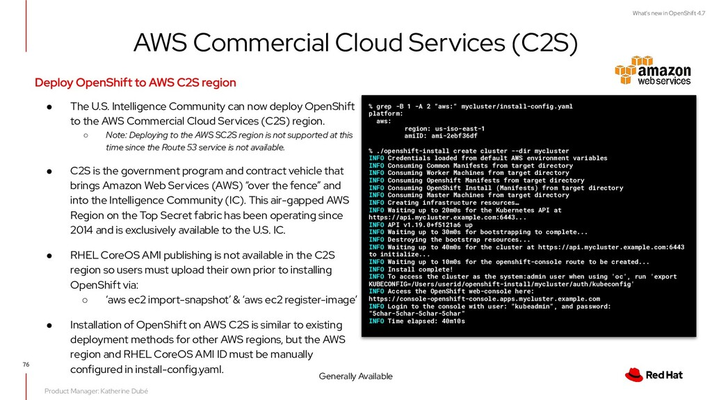 What's new in OpenShift 4.7 AWS Commercial Clou...