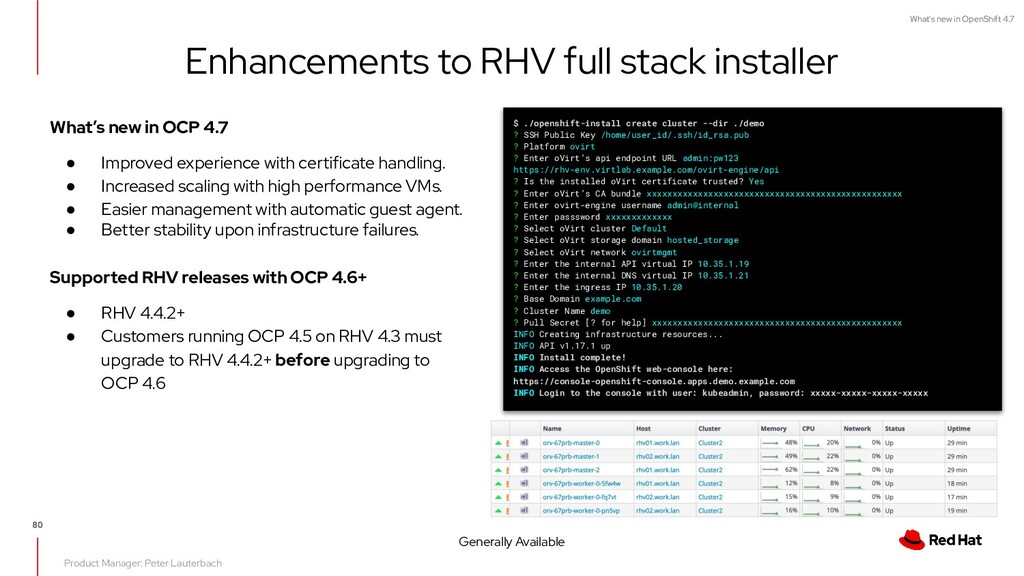 What's new in OpenShift 4.7 Enhancements to RHV...