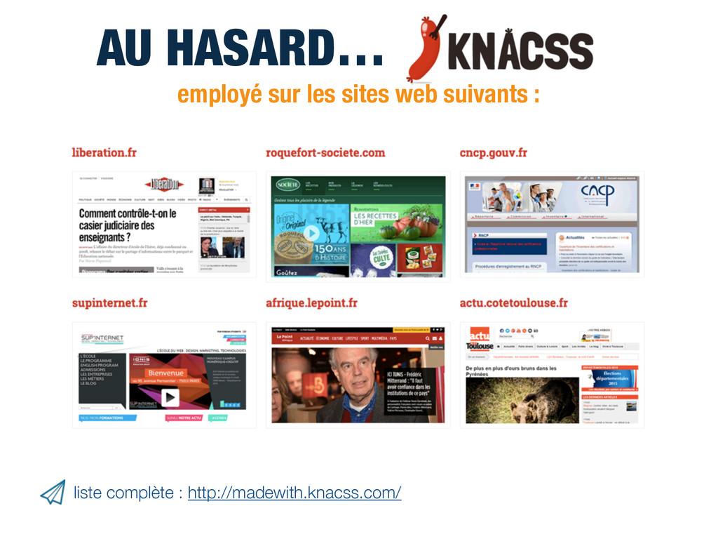 AU HASARD… employé sur les sites web suivants :...