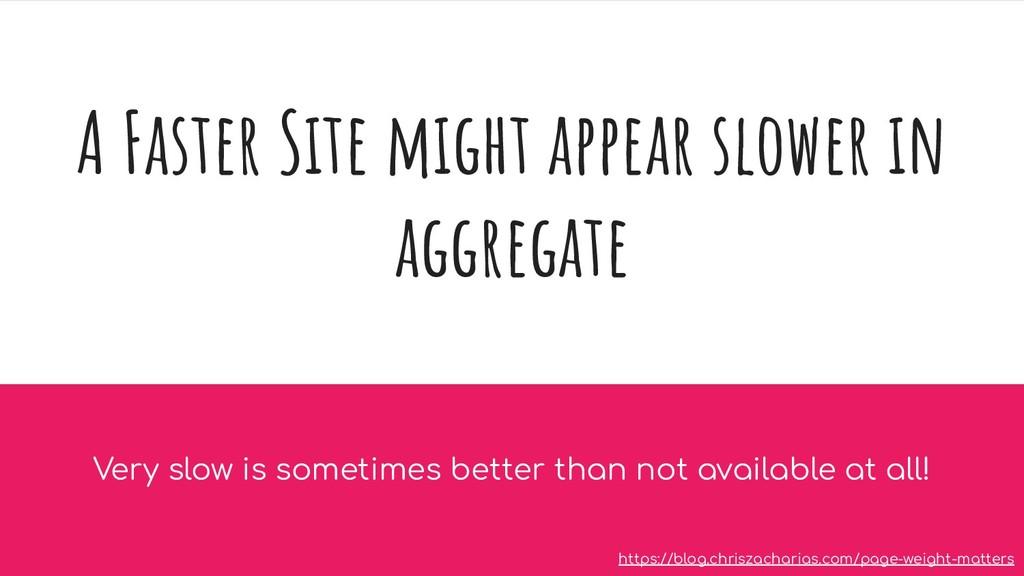 A Faster Site might appear slower in aggregate ...