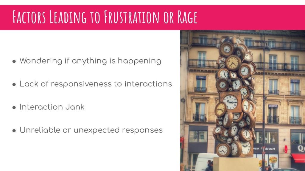 Factors Leading to Frustration or Rage ● Wonder...