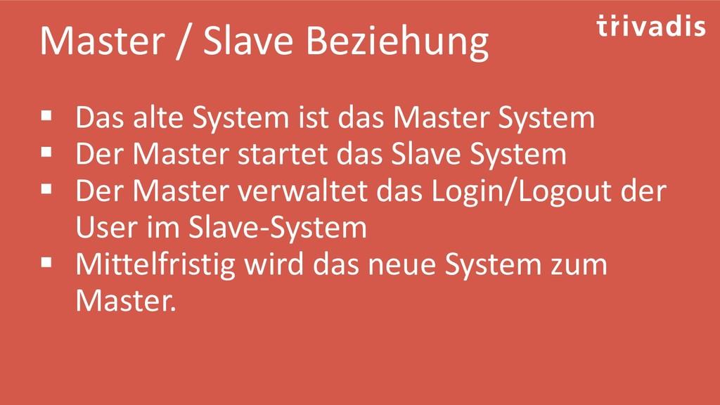 Master / Slave Beziehung ▪ Das alte System ist ...