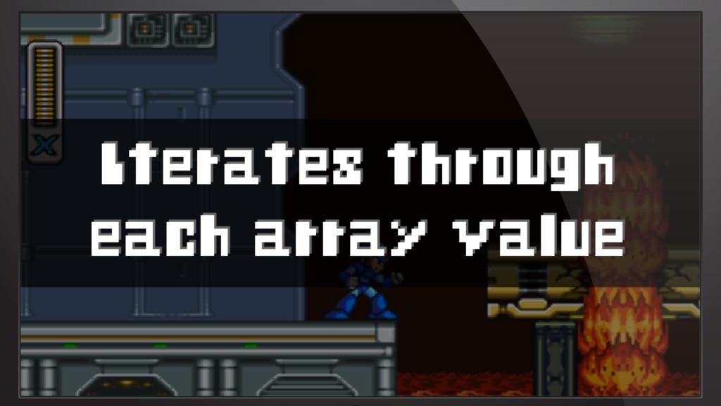 Iterates through each array value