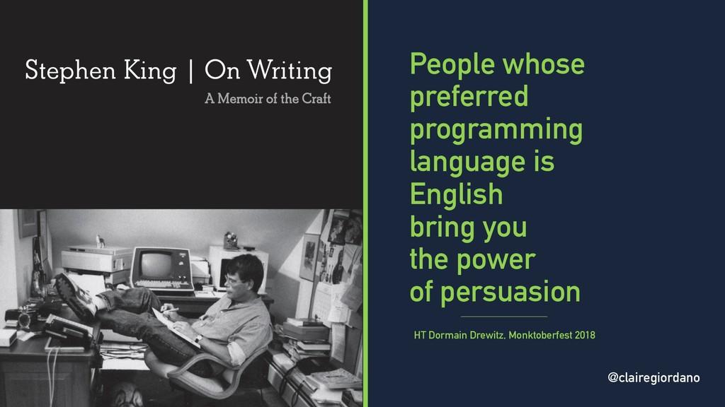 @clairegiordano People whose preferred programm...