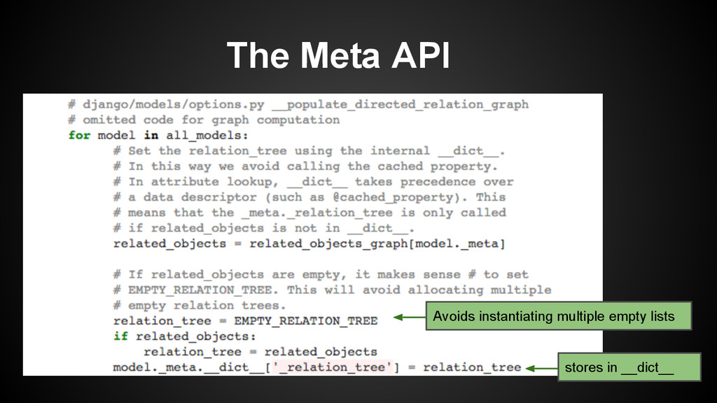 The Meta API Avoids instantiating multiple empt...