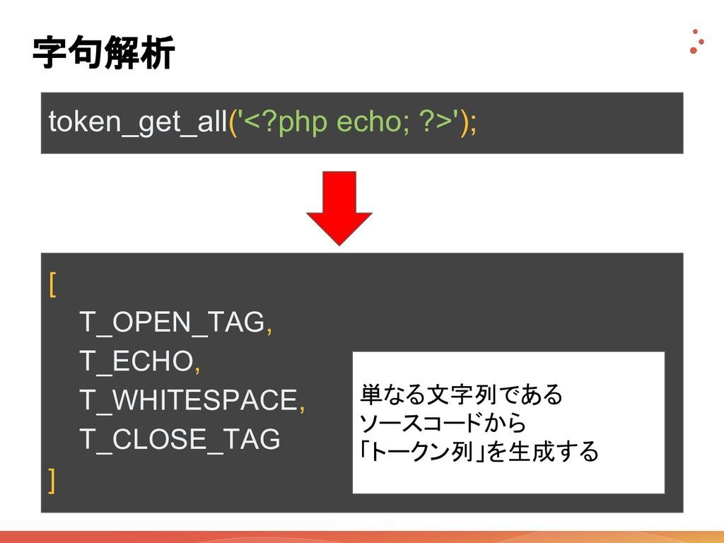 字句解析 token_get_all('<?php echo; ?>'); [ T_OPEN_...