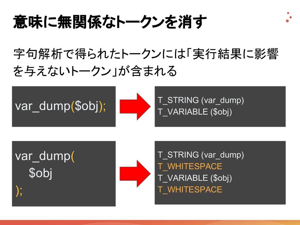 意味に無関係なトークンを消す 字句解析で得られたトークンには「実行結果に影響 を与えないトーク...