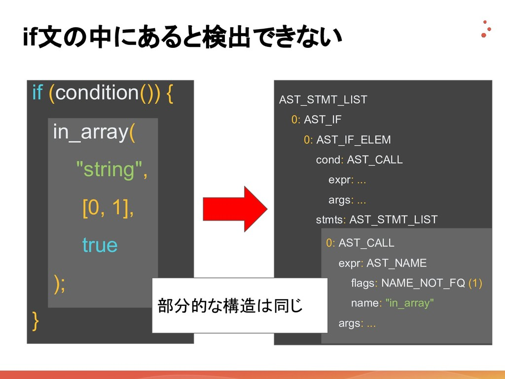 if文の中にあると検出できない AST_STMT_LIST 0: AST_IF 0: AST_...
