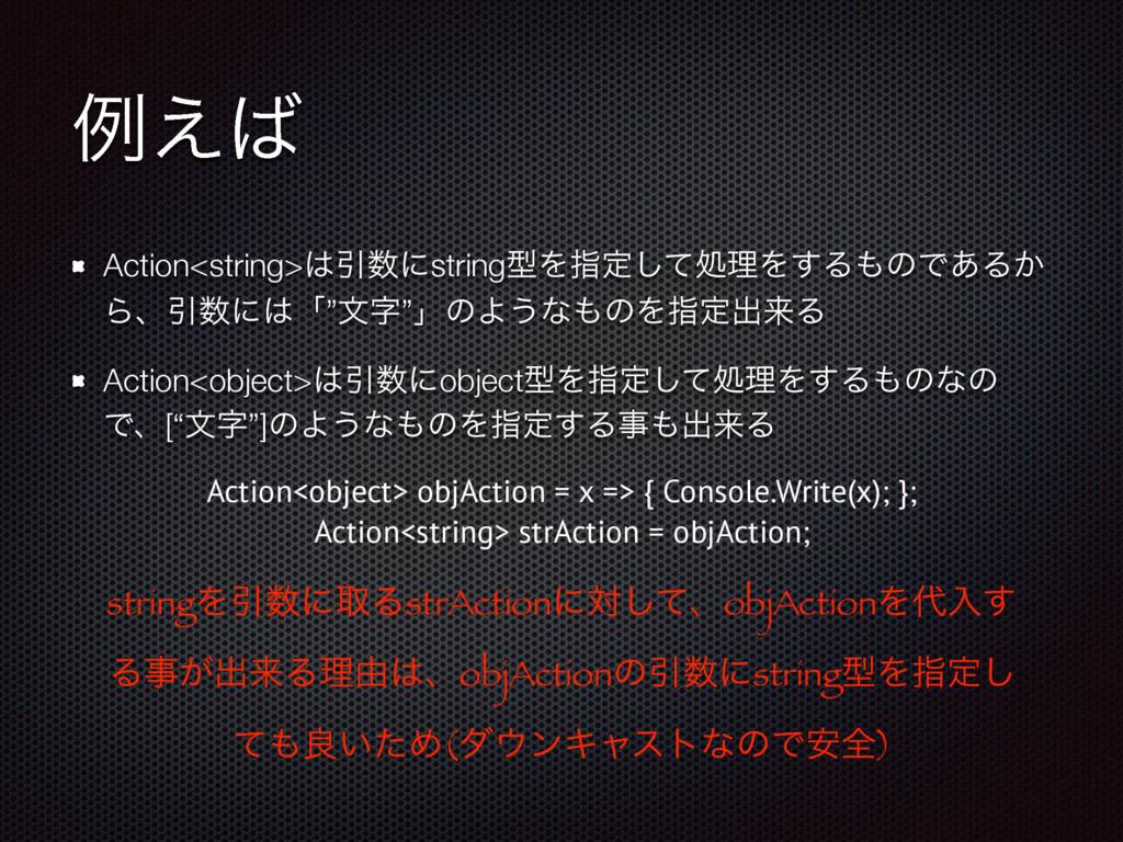 ྫ͑ Action<string>ҾʹstringܕΛࢦఆͯ͠ॲཧΛ͢ΔͷͰ͋Δ͔ Β...