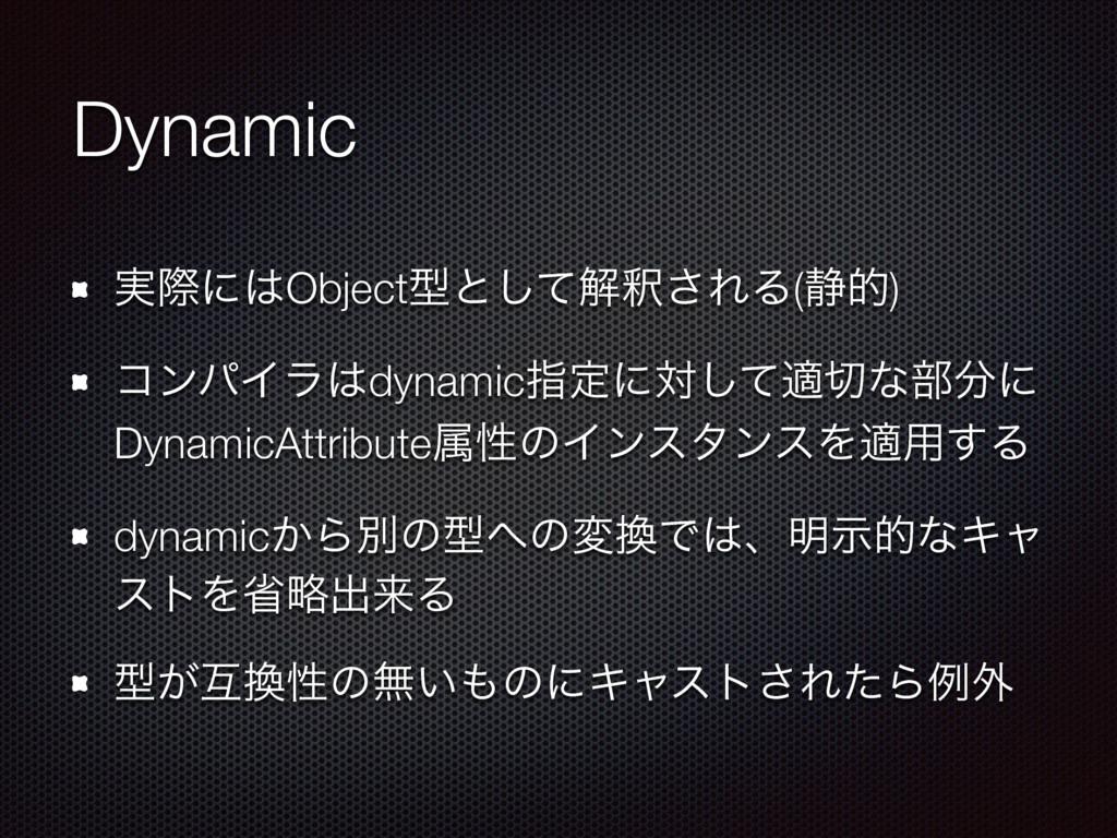 Dynamic ࣮ࡍʹObjectܕͱͯ͠ղऍ͞ΕΔ(੩త) ίϯύΠϥdynamicࢦఆ...