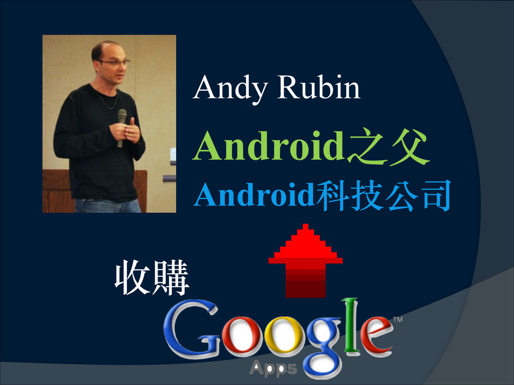 Andy Rubin Android之⽗父 收購 ! Android科技公司