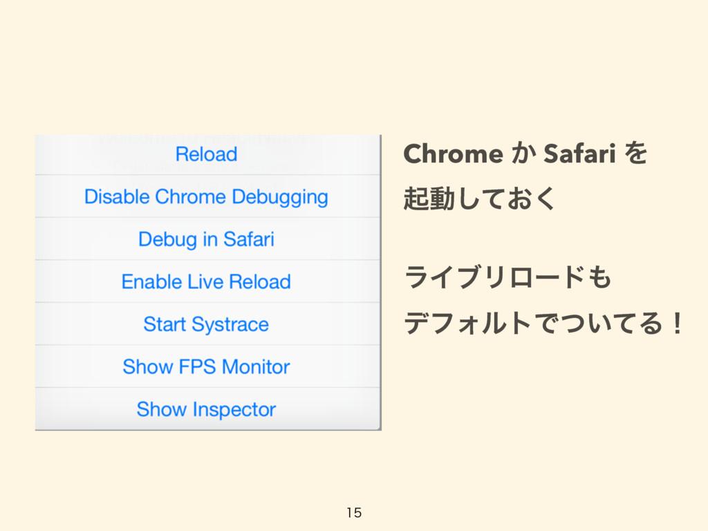 Chrome ͔ Safari Λ ىಈ͓ͯ͘͠ ϥΠϒϦϩʔυ σϑΥϧτͰ͍ͭ...