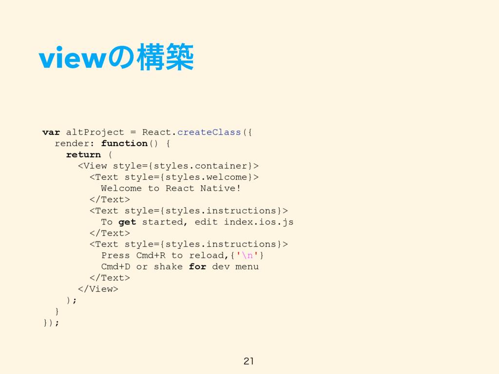viewͷߏங  var altProject = React.createClass({...