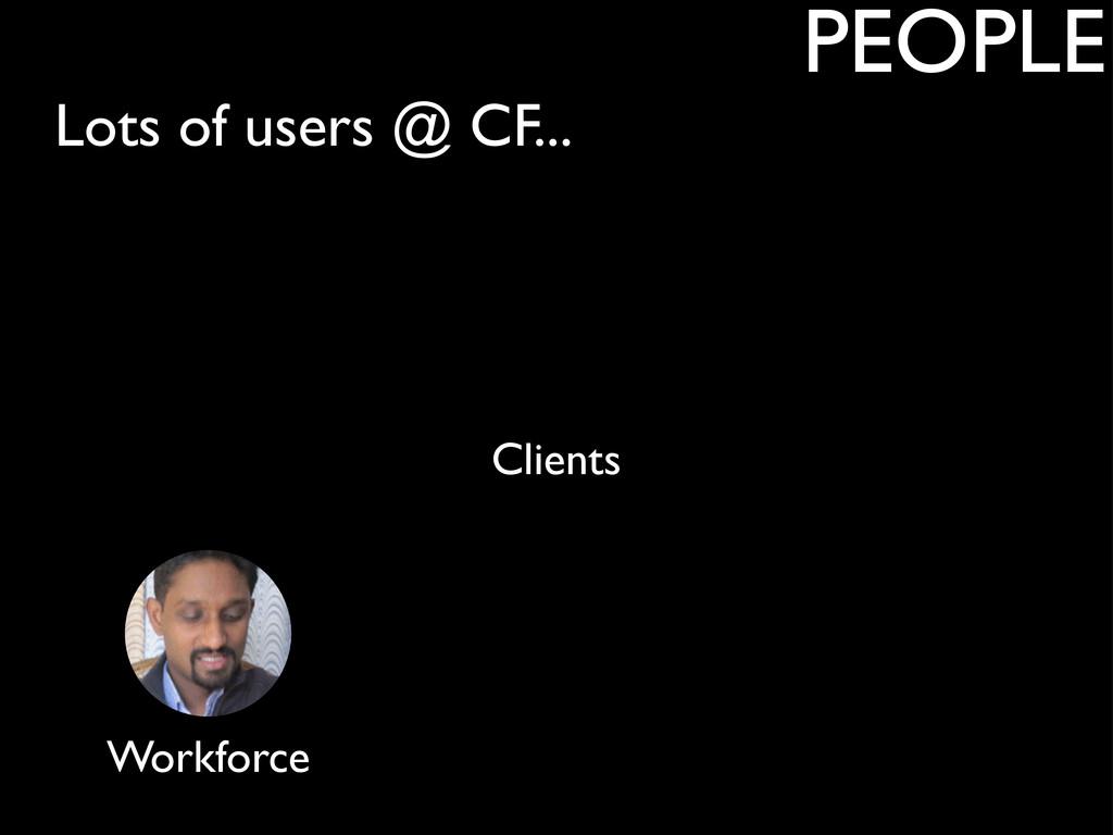 Lots of users @ CF... PEOPLE Clients Workforce