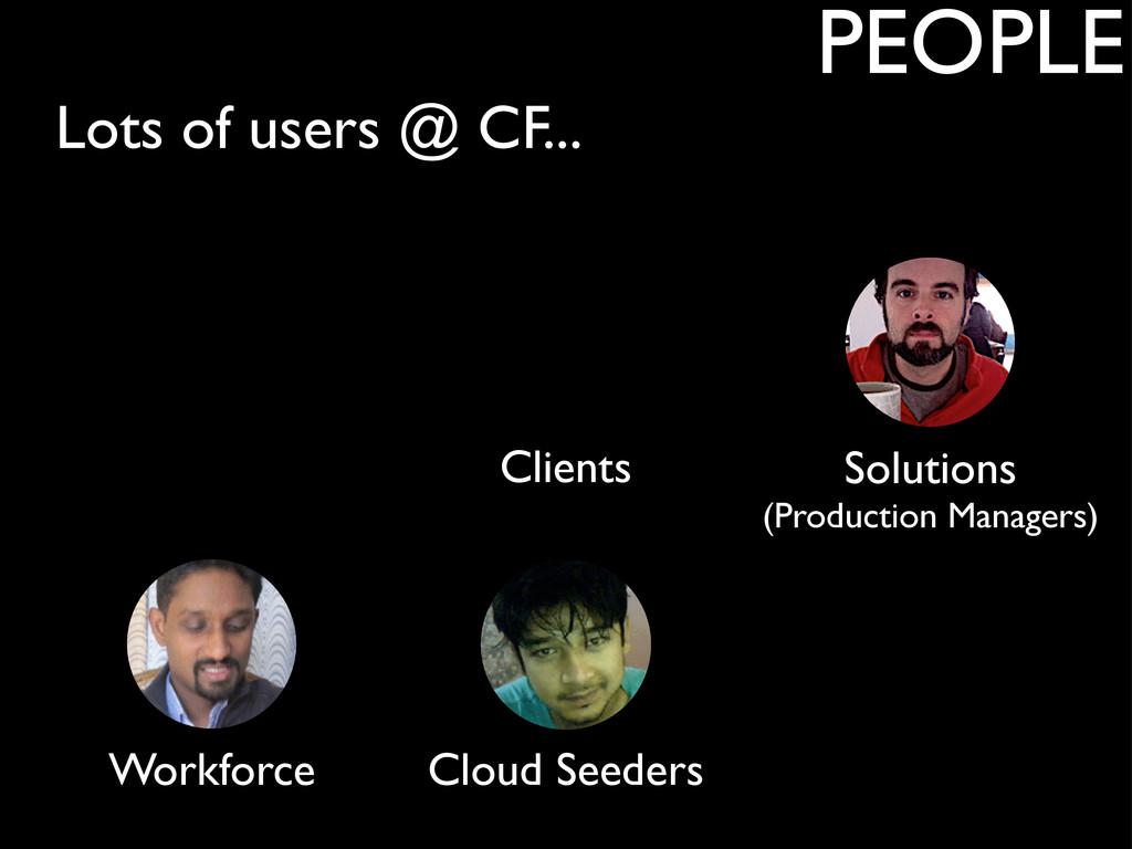 Lots of users @ CF... PEOPLE Clients Workforce ...