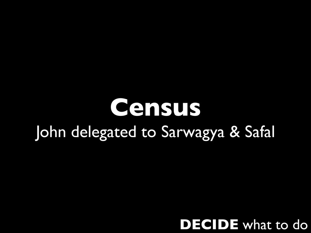 Census John delegated to Sarwagya & Safal DECID...
