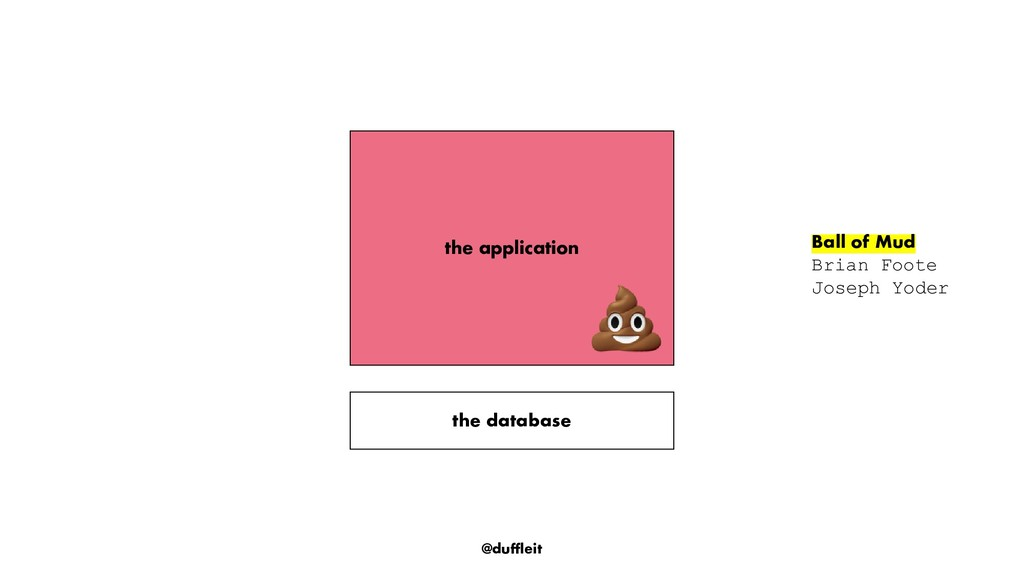 @duffleit the application the database Ball of ...