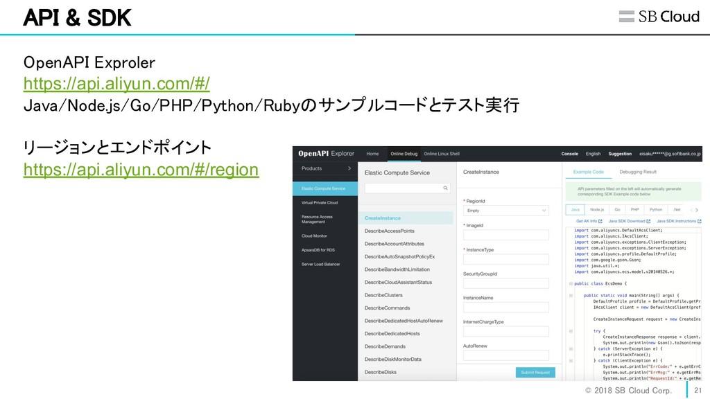 © 2018 SB Cloud Corp. 21 API & SDK OpenAPI E...