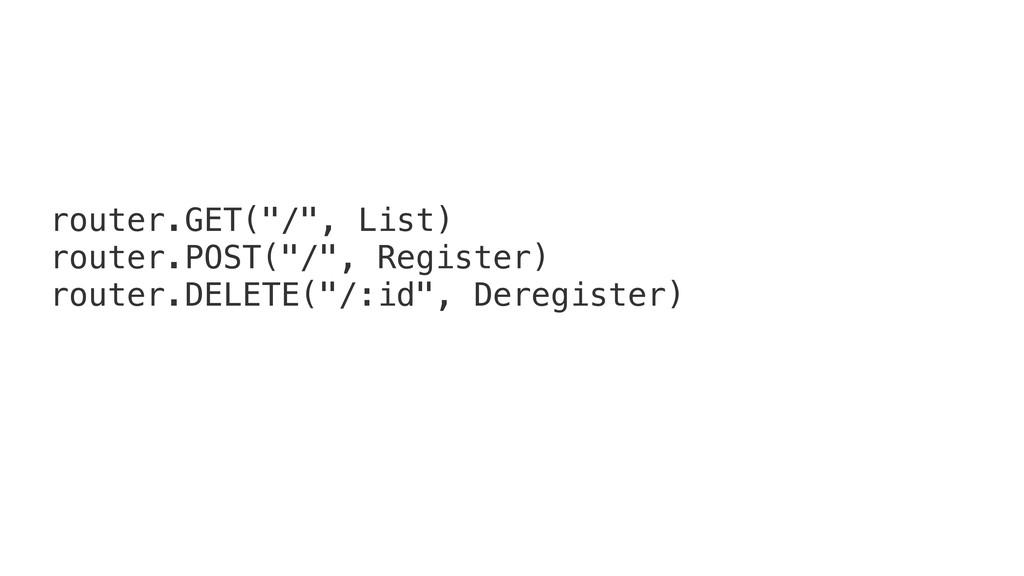 "router.GET(""/"", List) router.POST(""/"", Register..."