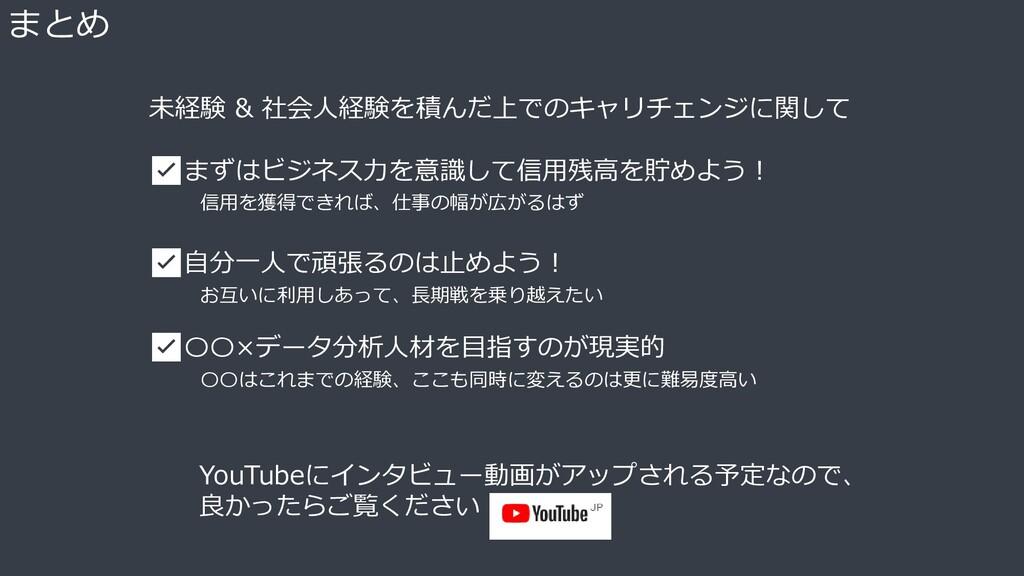 まとめ YouTubeにインタビュー動画がアップされる予定なので、 良かったらご覧ください 未...
