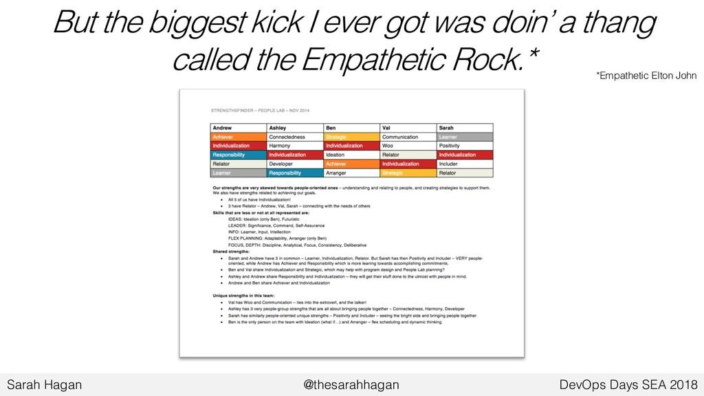 But the biggest kick I ever got was doin' a tha...