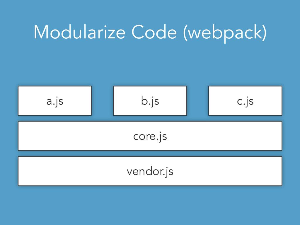 Modularize Code (webpack) vendor.js core.js a.j...