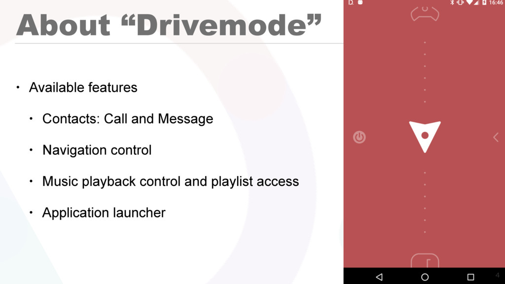 "About ""Drivemode"" • Available features • Contac..."