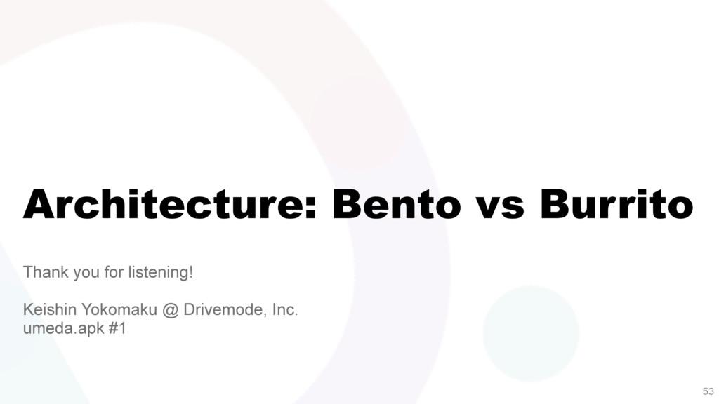 Architecture: Bento vs Burrito Thank you for li...