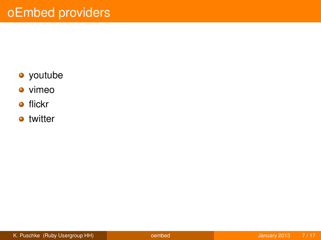oEmbed providers youtube vimeo flickr twitter K....