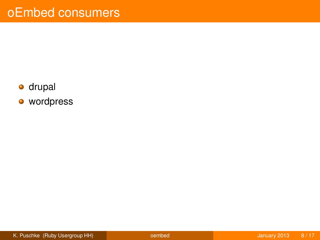 oEmbed consumers drupal wordpress K. Puschke (R...