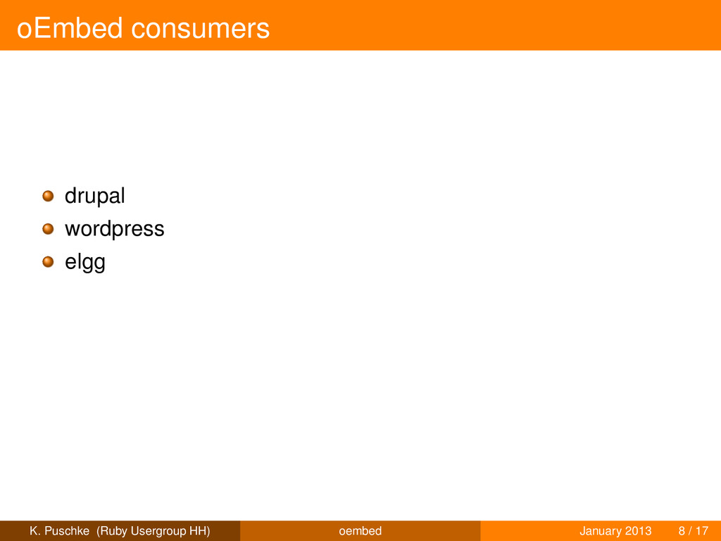 oEmbed consumers drupal wordpress elgg K. Pusch...