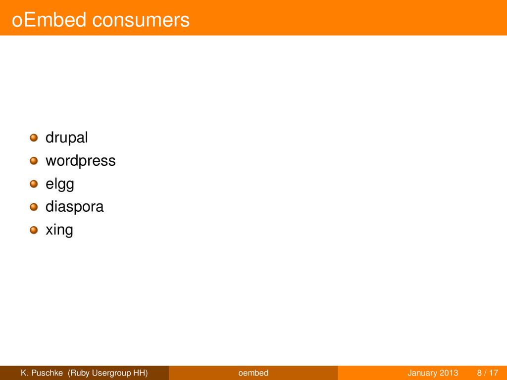 oEmbed consumers drupal wordpress elgg diaspora...