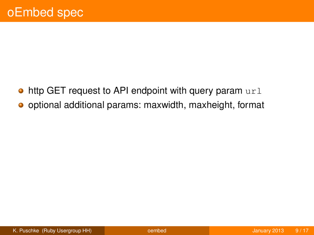 oEmbed spec http GET request to API endpoint wi...