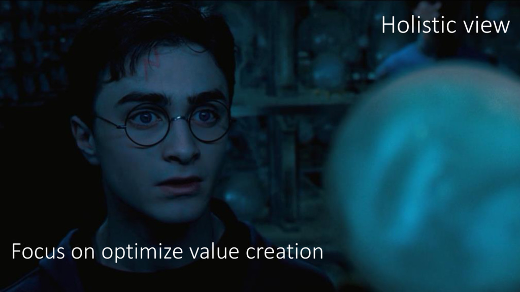 Focus on optimize value creation Holistic view