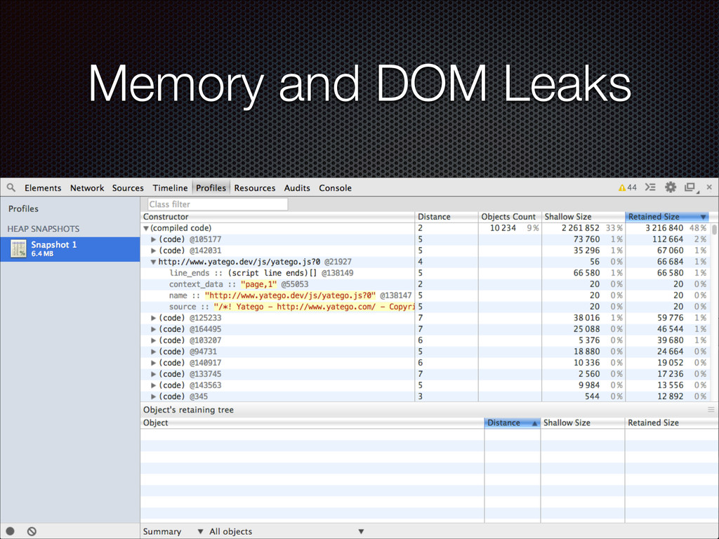 Memory and DOM Leaks