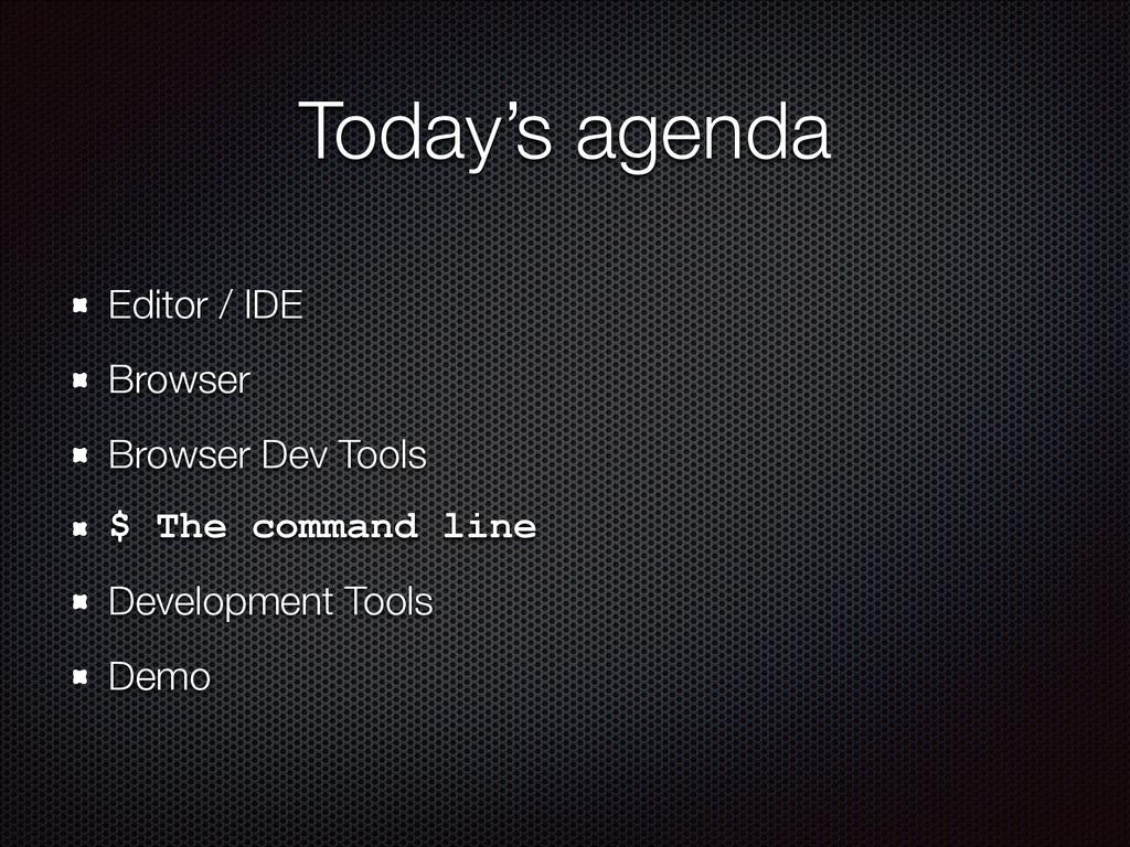 Today's agenda Editor / IDE Browser Browser Dev...