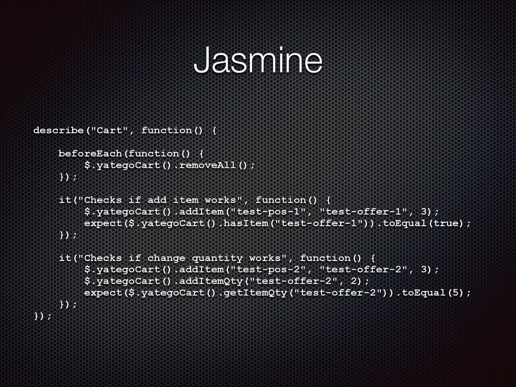"Jasmine describe(""Cart"", function() { ! beforeE..."