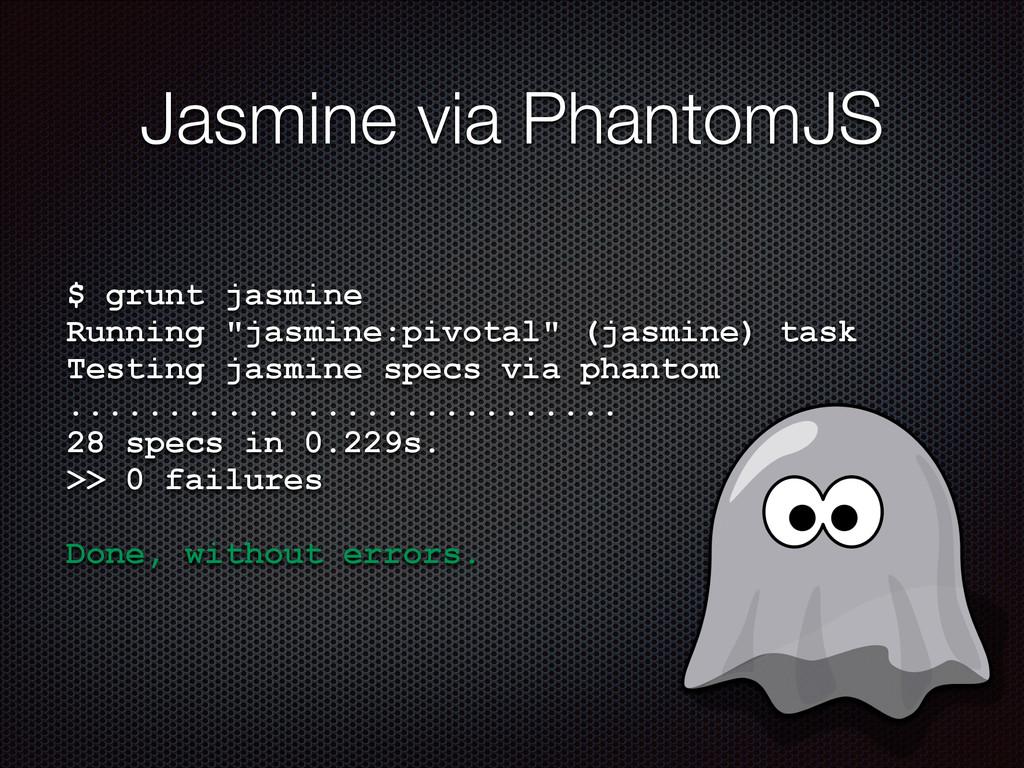"Jasmine via PhantomJS $ grunt jasmine Running ""..."