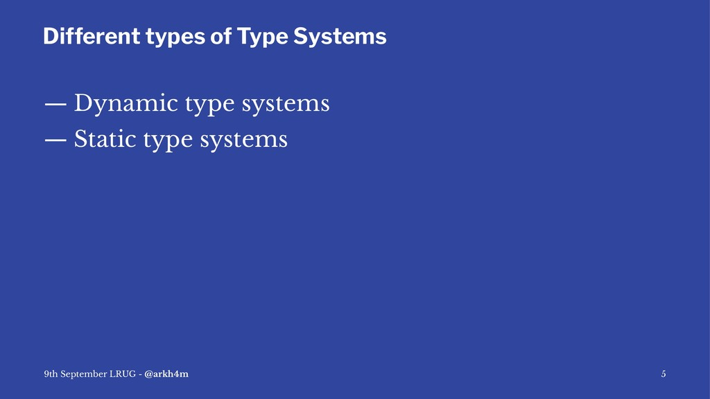 Different types of Type Systems — Dynamic type ...