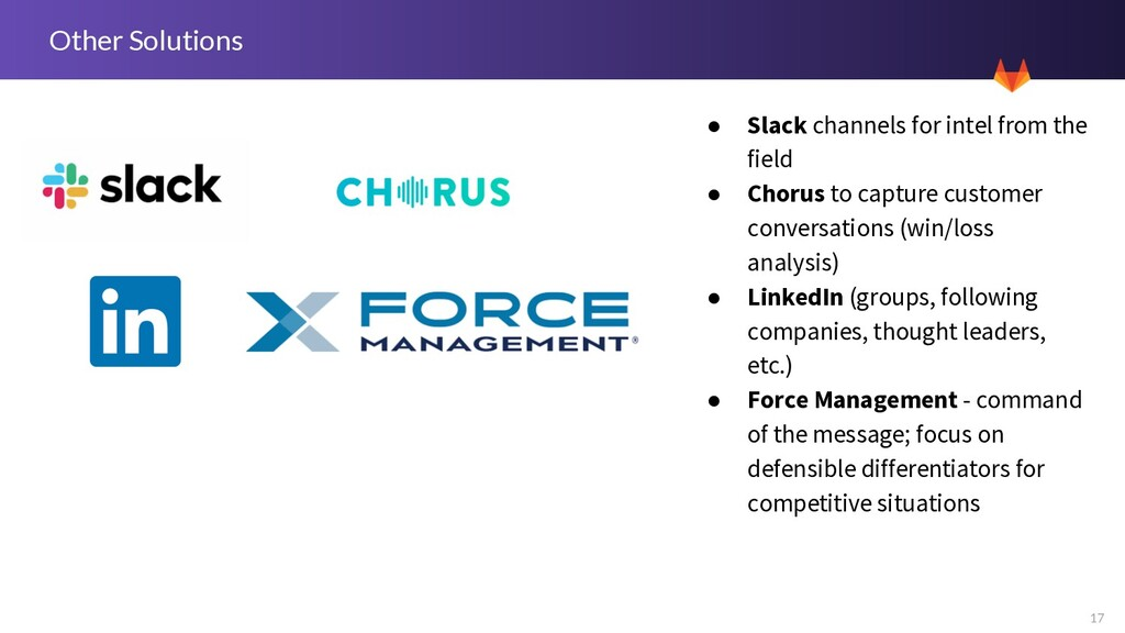 17 Other Solutions ● Slack channels for intel f...